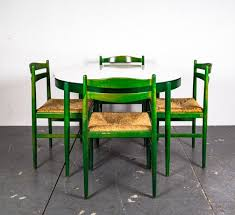 vintage dining table chairs in the