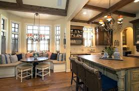 built in bench seat kitchen rustic kitchen with window seat bench and breakfast bar island built
