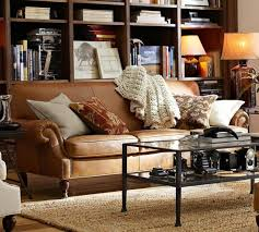 how to style a leather sofa pottery barn with regard to pottery barn leather sofa
