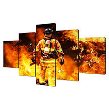 VIIVEI Large <b>Firefighters Fireman Canvas Wall Art Prints</b> Home ...