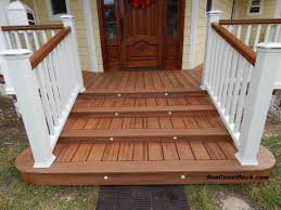 decking trex transcends tiki torch with custom curved steps