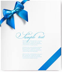 Blue Ribbon Design Vector Gift Card With Blue Ribbon Free Vector Graphics