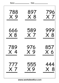Math : 2 Digit By 1 Multiplication Worksheets Free Handwriting 3 ...