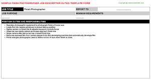 Finish Photographer Job Description Duties