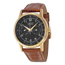 citizen eco drive black dial brown leather men s watch ao9003 08e