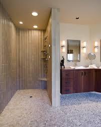 Walk in shower lighting Recessed Lighting No Door Walk In Shower With Corner Floating Bench And Floating Corner Shelves Shape Wood Homesfeed Walk In Shower Dimension Main Consideration To Determine Bathroom