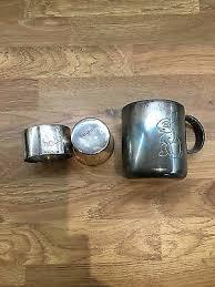 silver plate christening set of mug egg cup napkin ring w bunny rabbit motif