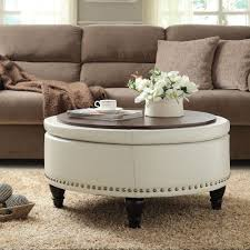 round wood coffee table tray for white leather ottoman coffee table with black wooden legs on brown rugs in living room with microfiber sofa ideas