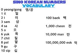 Korean Number Chart Study Korean Together Sino Korean Number Vocabulary Chart