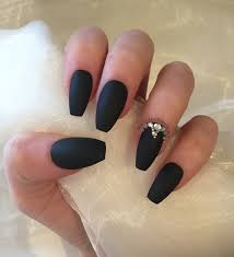 Coffin Designs Matte Black Coffin Nails With Rhinestones And Gold Beads