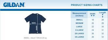 Gildan Heavy Cotton T Shirt Size Chart