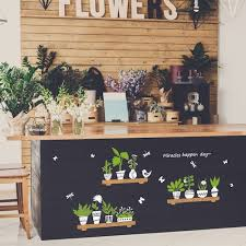 fresh plant potted glass door