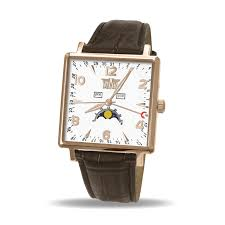 men s moon phase watch square classic rose gold case white dial zoom