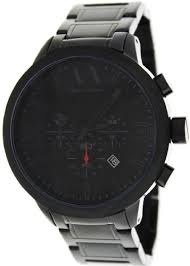 armani exchange chronograph black dial black ion plated mens watch armani exchange ax1277 black metal bracelet mens 44mm