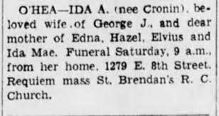 Obituary for Ida Cronin. The Brooklyn Eagle, 27 May 1943 ...
