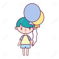 風船と髪型デザイン イラストでかわいい男の子のイラスト素材ベクタ