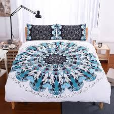 warm tour 4 pieces dhl third eye mandala duvet cover blue black geometric art bedding set