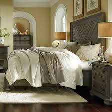 cheswick wood panel bed in washed linen grey
