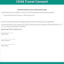 Permission Letter For Child To Travel With Grandparents Free Consent