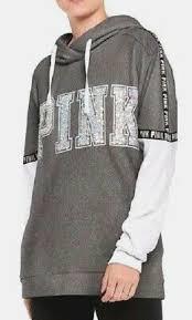 Victoria Secret Size Chart Hoodies Victorias Secret Love Pink Sequin Bling Hoodie Grey Gold