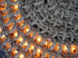 hand crochet rope mat with rope lights