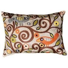 lumbar klimt tree of life birds blue pillow cover hand embroidered 13 x 21