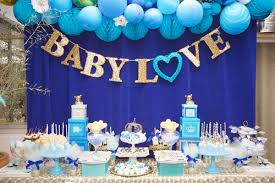 Make the desserts part of the baby shower decorations with ornate cakes and  desserts on platters with icing colored to match the theme, with bows and  ...
