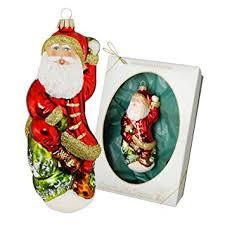 Krebs Glas Lauscha Traditioneller Weihnachtsmann Sitzend
