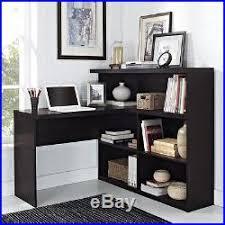 corner office shelf. Computer Desk L-Shaped Corner Office Furniture Open Shelves Espresso Space Saver Shelf