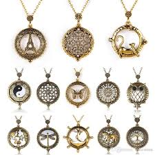 whole vintage magnifying glass pendant necklace world map dragonfly owl life tree elephant pocket watch statement necklace women jewelry necklaces for