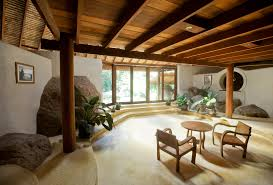 Wood Zen Home Decorationg Ideas With Contemporary Furnitures Truss Eposed  And Big Stone Decoration Also Indoor ...