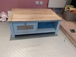 cream coffee table 2 drawer shelf