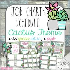 First Grade Job Chart Cactus Classroom Decor Job Chart Schedule By First Grade Roars