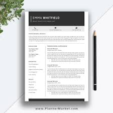 Printable Cv Templates Professional Resume Template 5 Page Cv Template Creative Resume Design Cover Letter Ms Word Instant Download The Emma Resume