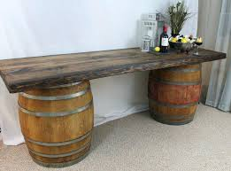 wine barrel outdoor furniture. Fresh Outdoor Wine Barrel Furniture And Rustic Wood Top Buffet Table 41 For Sale