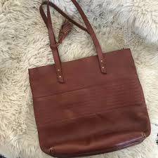 details about lucky brand large leather tote brown handbag zippered