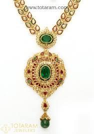 22k gold uncut diamond necklace drop earrings set with ruby emerald semi precious