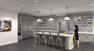paint colors with oak cabinets and white appliances triple pendant light over counter kitchen island and modern stools with mosaic grey backsplash in