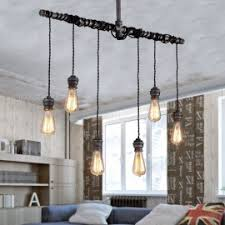 industrial loft lighting. Industrial 6-Light Plumbing Pipe Hanging Exposed Bulb Metal Pendant Light In Brushed Black Loft Lighting A