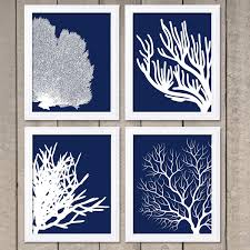 Coral Prints Navy Blue White Set Of 4 Coral Wall Art Coral Intended For  Blue And
