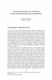 the enlightenment and the french revolutionary birth pangs of the rise of the social sciences and the formation of modernity