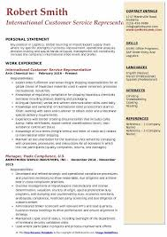 International Format Resume International Customer Service Representative Resume Samples
