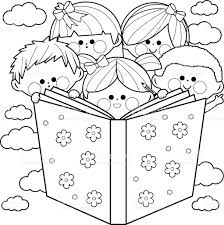 Small Picture Children Reading A Book Coloring Book Page stock vector art