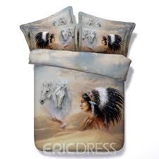 vivilinen 3d horse and american indian chief printed cotton 4 piece bedding sets duvet