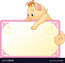 Princess Invite Cat Princess Invite Or Placard Royalty Free Vector Image