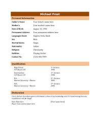 5 Biodata Resume Template
