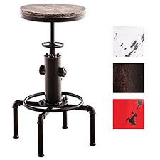 TOPOWER American Antique vintage Industrial Solid Wood Water Pipe Design  Cafe Coffe Industrial Bar Stool(
