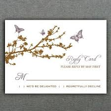 Reply Card Template Butterfly Branch Rsvp Card Template Diy Wedding Rsvp Enclosure