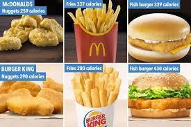 Mcdonald S Menu Calorie Chart Mcdonalds And Burger King Menu Calories Compared From