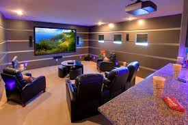 ... Luxurious Home Movie Theater Rooms : Outstanding Home Theater Room  Design Interior With Black Leather Sofa ...